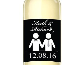 Groom Loves Groom - Custom Wine Label - Gay Wedding - Wedding Favors - Wedding Gift - Wedding Decor - Weatherproof and Removable Wine Label