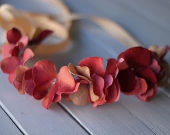 dark coral, orange Floral Headband, Pink Hydrangea Headband