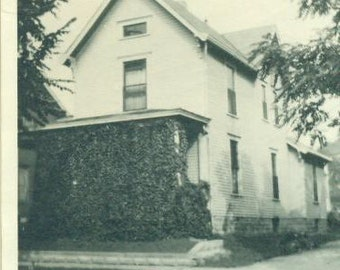 Grandpa Millers Home Huntington Indiana White Farm House Vintage Black and White Photo Photograph