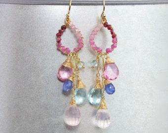 Pink Ruby Chandelier Earrings, Blue Topaz Pink Topaz Earrings Rose Quartz Earrings Wire Wrapped Dangle Earrings Pink Blue Gemstone Earrings