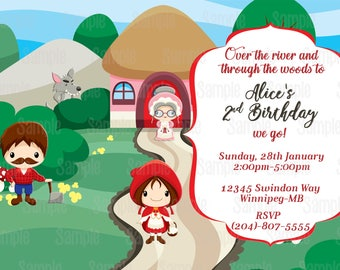 Printable Little Red Riding Hood inspired Birthday Party Invitation plus FREE blank matching printable thank you card