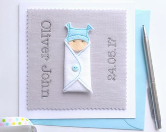 Personalised Baby Boy Girl Card - Name and Birth Date - New Baby Boy Girl Card - Baby Girl Card - Baby Shower Gift - Personalized
