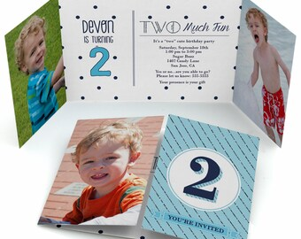 Two Much Fun - Boy - 2nd Birthday Party Invitation with Photos - Set of 12