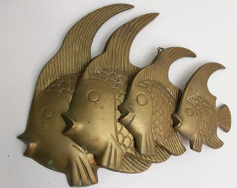 Solid Indian Brass Engraved Wall Hanging School of Fish- Set of Four