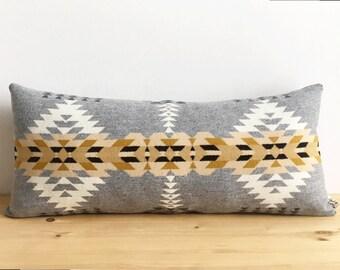 Rancho Arroyo Silver Lumbar // Geometric Wool Pillow
