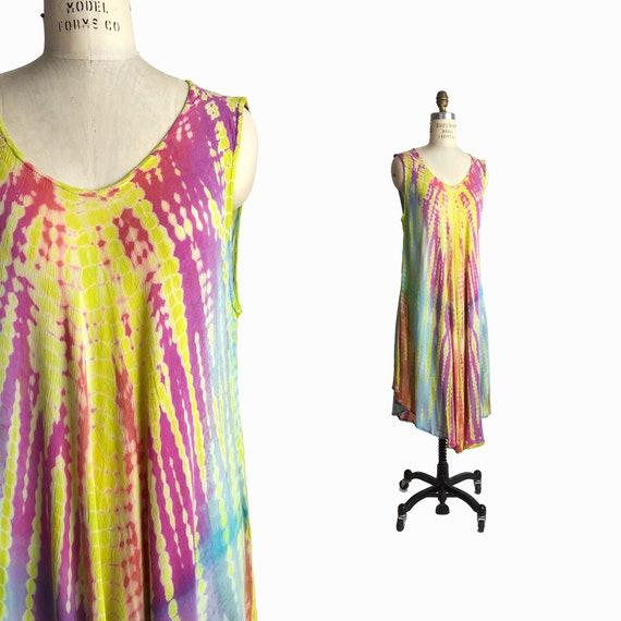Vintage 90s Tie Dye Summer Dress / Boho Hippie Sundress / New Age Festival Sundress - one size