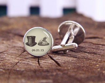 Vintage Mr and Mrs Hats cufflinks, Dark Tan Wedding cufflinks, custom name, date, custom wedding cufflinks, groom cufflinks, tie bars or set