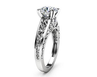 Art Deco Moissanite Engagement Ring Filigree Design 14K White Gold Engagement Ring Moissanite Ring