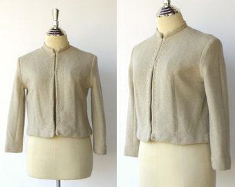 Vintage Wool Jacket / Textured Beige Womens Blazer / Size S