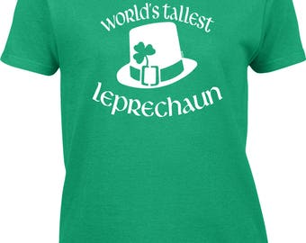 World's Tallest Leprechaun Womens Short Sleeve T-shirt -SPD Clover Irish Pinch Love Kiss Drinks Party Girlfriend Boyfriend -DT-00632