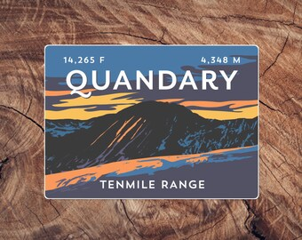 Quandary Peak Colorado Sticker - high quality, weatherproof, 14er mountain illustration