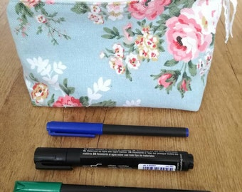 zippered pouch pencil case toiletry bag cosmetic bag makeup bag flowers pen pouch travel purse