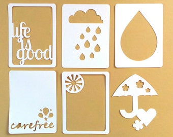 "How Refreshing 3x4"" Die Cut Cards, Pocket Scrapbooking Cards, Filler Cards, Journaling Cards, Weather Scrapbooking Embellishments"