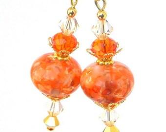 Orange lampwork earrings, artisan lampwork glass, peach and mango, orange marmalade