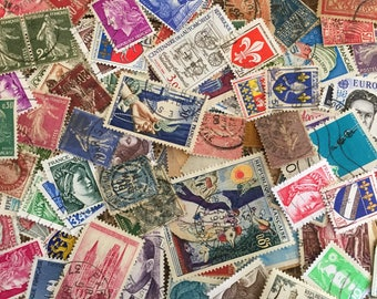 164 Stamps From France Cancelled 1950s to Early 1990s Ephemera French Collage Decoupage Scrapbook Junk Journals Mixed Media
