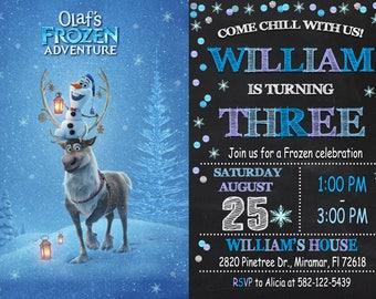 Frozen Olaf Invitation Frozen Olaf Birthday Frozen Olaf Party Frozen Invitation