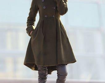 Green coat, winter coats for women, winter coat, coat, jacket, wool coat, Asymmetrical coat, womens coats, army green coat, coats C178