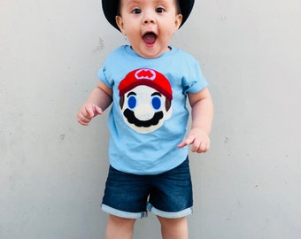 Mario - Kids Light Blue T-Shirt - Children's Clothing - Gift