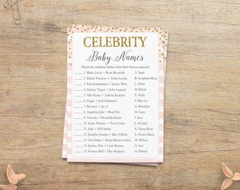 Celebrity Baby Names Game, Pink Gold Baby Shower, Guess Celebrity Name Game, Printable Game Cards, Gold Confetti Games, GP, Printable