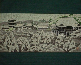 Japanese Art Masao Ido Kyoto 'Kiyomizu' Temple Furoshiki Japanese Fabric Cotton 48cm w/Free Insured Shipping