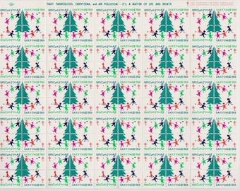 1969 Christmas Seals Issued by American Lung Association, Full sheet of 100 Seals, Christmas Village, Vintage Ephemera