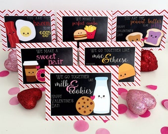 Valentine's Day Cards Folded Notes Digital Download Perfect Pair Hearts