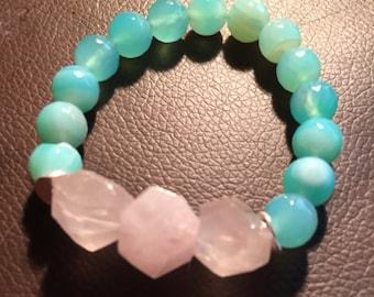 Rose Quartz Nuggets and Blue Agate Chunky Statement Stretch Bracelet   Heart Stone   Color Block Bracelet