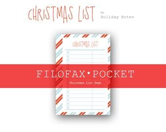 Filofax POCKET Size Christmas List Page