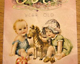 Vintage birthday card 1 year old 1940s