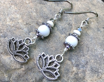 Lotus Flower Earrings, Dangle Earrings, Silver and White Earrings, Drop Earrings, Summer Earrings, Earrings