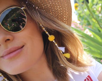 Eyewear necklace for sunglasses made of beads, Pompoms and Tassels yellow sunshine-Customizable