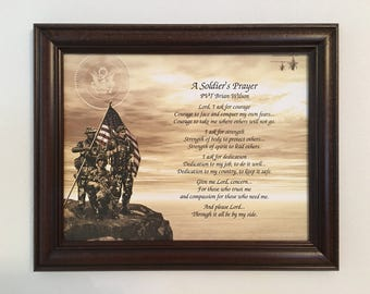 Army Gift, Personalized, A Soldier's Prayer, Frame Included, Father's Day, Birthday, Dad, Husband, Son, Daughter, Graduation