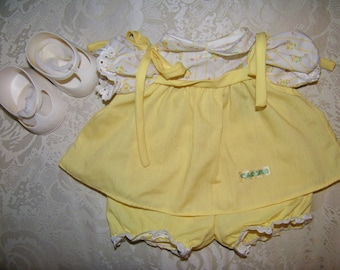 Vintage Jesmar Cabbage Patch Kid Doll~Yellow Shoulder Tie Dress/Maryjane Shoes ~ Clothing/Outfit~