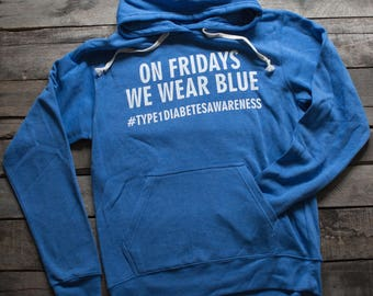 On Fridays We Wear Blue ADULT HOODIE