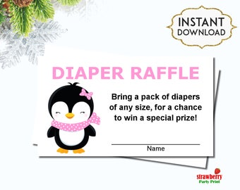 Penguin Diaper Raffle Tickets, Penguin Baby Shower, Winter Baby Shower, INSTANT DOWNLOAD, C51