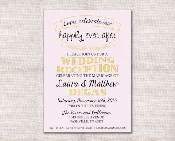Destination Wedding Invitation Wording Samples: Wedding Reception Celebration After Party Invitation Custom