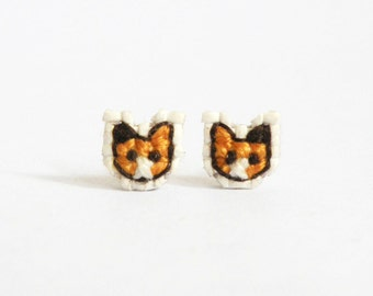 Calico cat cross stitch earrings, gifts for cat lovers, kitten earrings, miniature kitten earrings, gifts under 30, Made to order