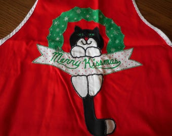 Christmas Cat Applique Apron