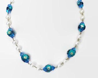 Vendome necklace set.  Margarita necklace. Crystal necklace. Earring set. rivioli necklace.