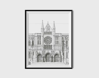 Chartres Cathedral Illustration Print - Original Architectural Drawing, France Cathedral, Religious Art Print, Wall Art, Mothers day