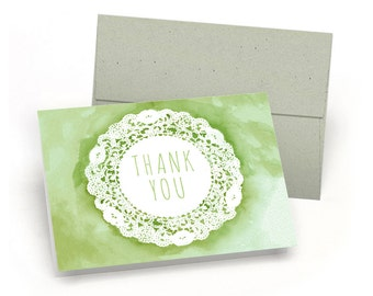 Elegant Set of Thank You Cards - Watercolor & Lace (10 Cards + Sage Green Envelopes)