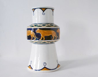 Rörstrand Vase, Swedish Jugendstil, 1900s Alf Wallander Vase, Antique Art Pottery, Art Nouveau Faience, Ceramic Animal Vase, Ochre Blue