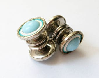 Vintage Turquoise Blue and Silver Cuff Links - Baer and Wilde Kum-A-Part Cufflinks - Mens Art Deco Fashion Accessories Shirt Cuff Snap Links