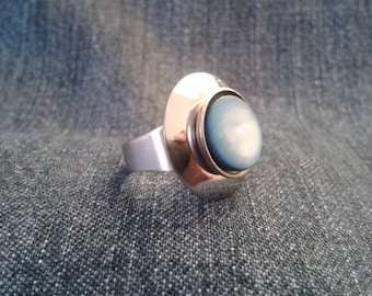 Stainless Steel Ring With Blue Coloured Mother Of Pearl