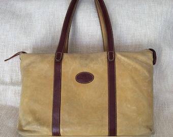 Genuine large vintage TERRIDA leather shopping tote bag travel