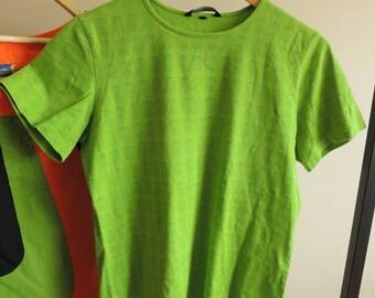 FREE SHIPPING - MARIMEKKO Green t-shirt with dark green flower print, size L