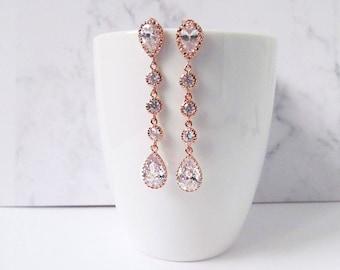 rose gold earrings long, wedding earrings, long earrings, bridal earrings, rose gold drop earrings, rose gold wedding jewelry