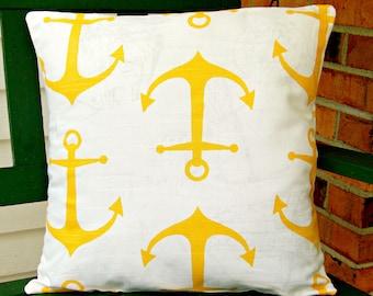 Yellow White Anchors Pillow Nautical Throw Pillow Beach Decorative Cushion Cover ALL SIZES Anchors Coastal Accents Home Decor Couch Pillows