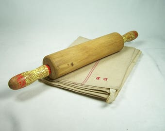 Vintage movable wooden rolling pin red and yellow handles