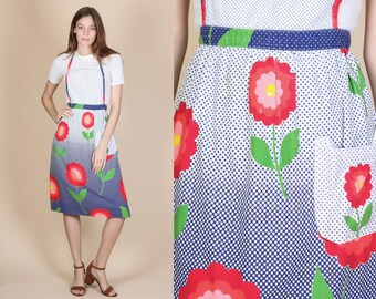 Vintage 70s Floral Apron - Small to Medium